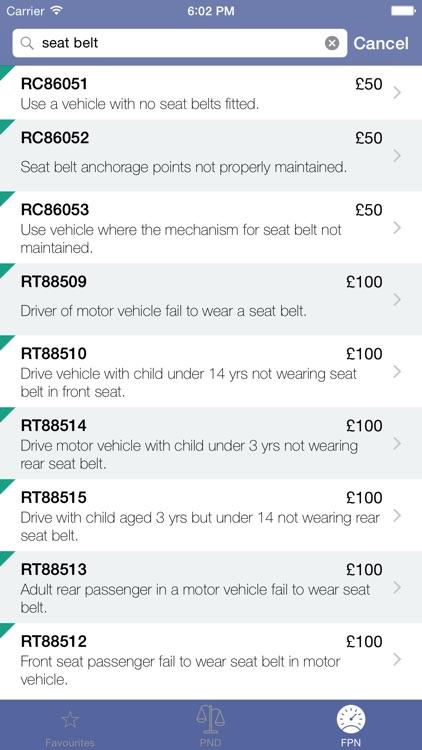 Penalties - FPN & PND PentiP Codes & Costs for UK Police screenshot-3