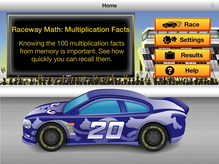 RE@L Raceway Math: Multiplication Facts screenshot-0