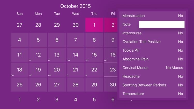 Menstrual Period Tracker and Calendar of Ovulation