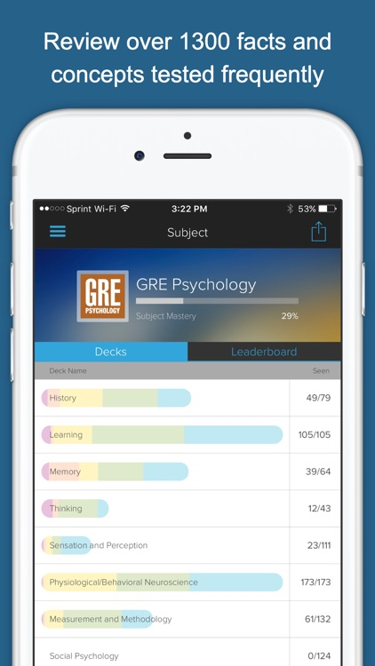 GRE Psychology (Psych) Subject Test / Exam Prep Flashcards