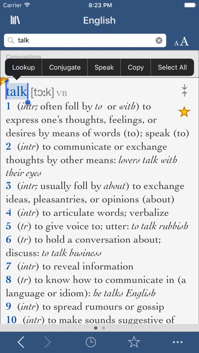 Collins English Dictionary and Verbs screenshot one