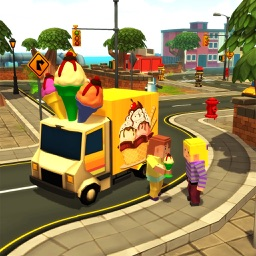 Blocky Candy Ice-Cream Truck Delivery