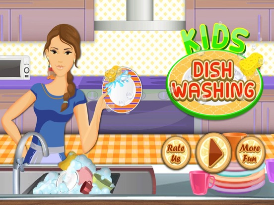 Kids Dish Washing and Cleaning Game - Free Fun Kitchen Games for Girls,Kids and Boys-ipad-0