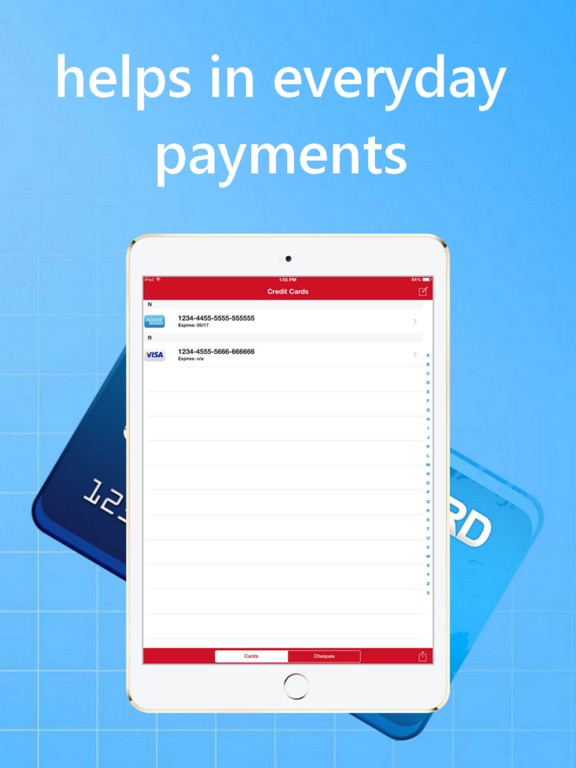 Credit Cards and Cheques Keeper iPad
