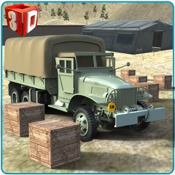 Army Cargo Truck Simulator - Deliver food supplies to military camps in this driving simulation game