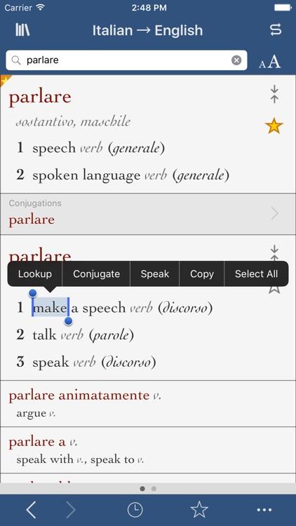 Italian-English Translation Dictionary and Verbs