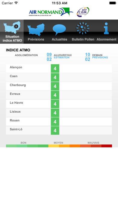 Screenshot #1 pour Atmo Normandie