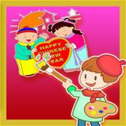 宝宝爱画画—新年&春节喜庆年画涂色秀秀—画板涂色绘本二合一