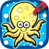 海底动物涂色儿童画画游戏简书(3-6岁宝宝早教益智软件)