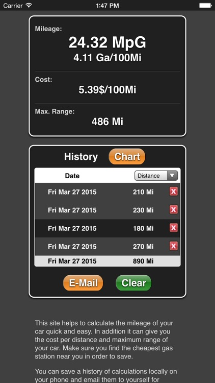 Mileage screenshot-1
