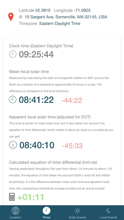 Noonish - discover local solar times.