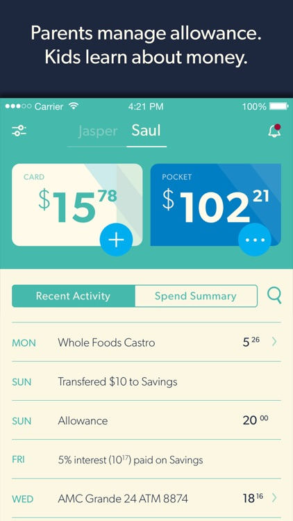 Nickel - The Allowance Manager and MasterCard Prepaid Card screenshot-0