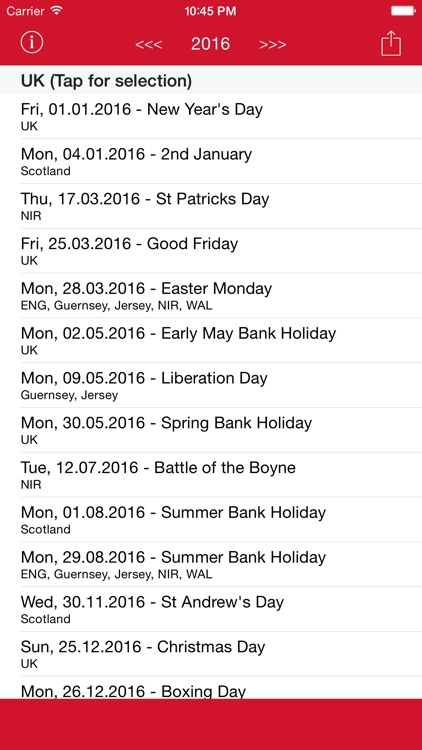 Holiday Calendar United Kingdom 2016 - National and local bank holidays screenshot-4