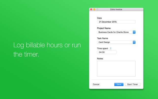 Zoho Invoice Time Tracking On The Mac App Store - Invoice tracking app