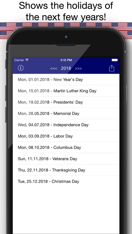 Holiday Calendar USA 2016 - Federal Public US Holidays for Vacation and free time Planning