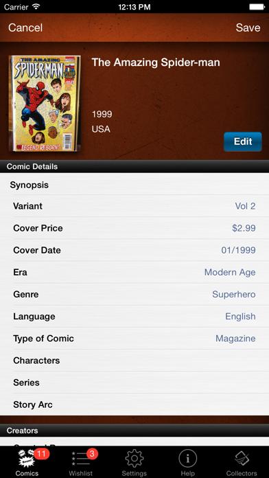 Comic Book Collector Database Screenshot