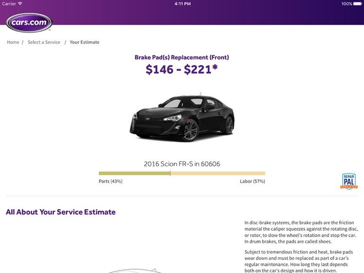 Cars.com Service Estimator for Dealers