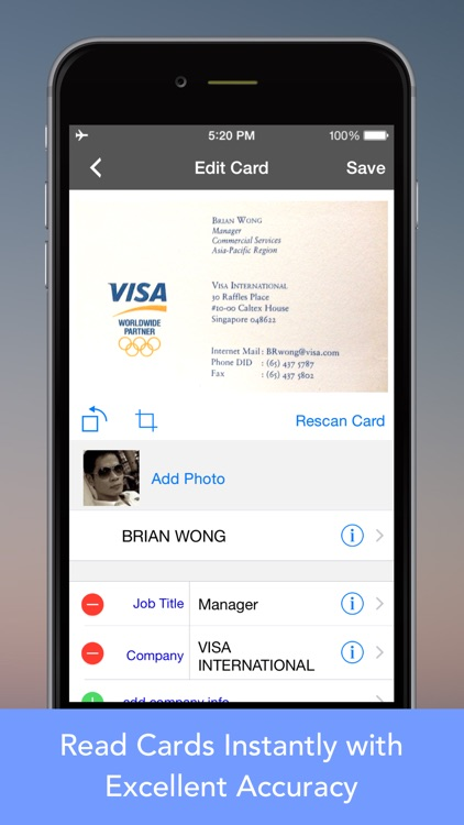 CardWiz: Business Card Reader
