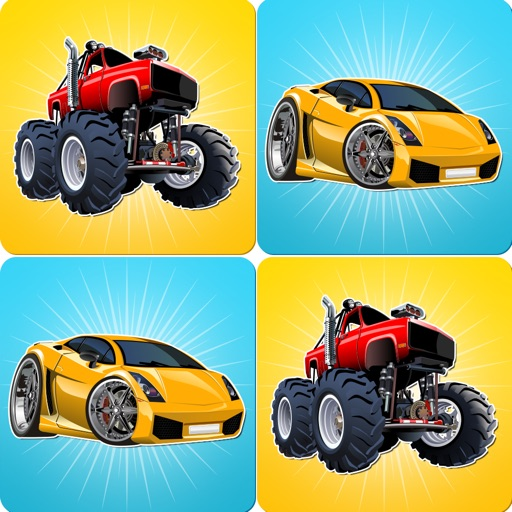 Monster Trucks & Sports Cars: Free Matching Games for Preschool Boys