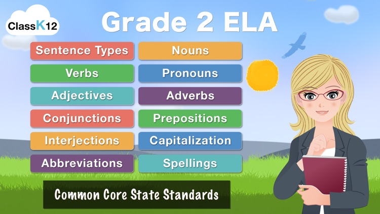 Grade 2 ELA - English Grammar Learning Quiz Game by ClassK12 [Full] screenshot-0