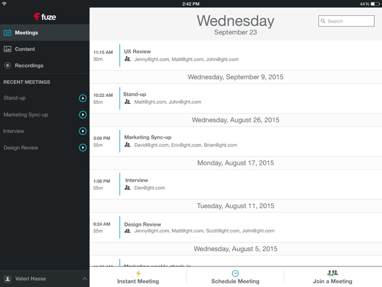 Fuze Meetings for iPad