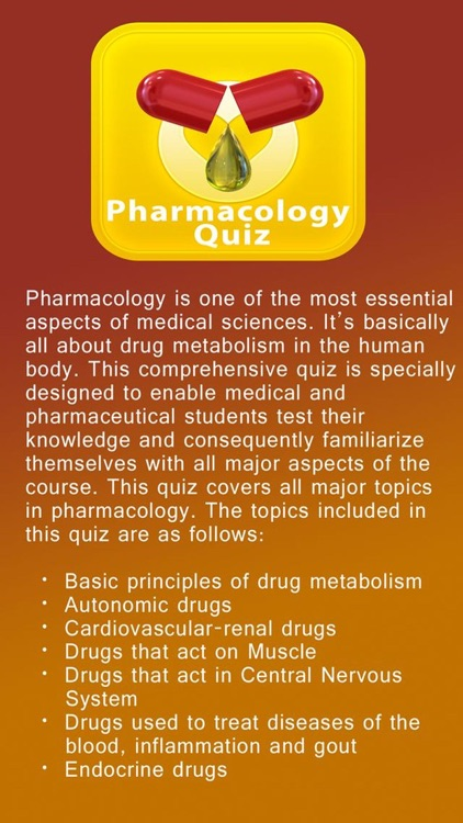 Pharmacology Quiz, Science of Drugs screenshot-0