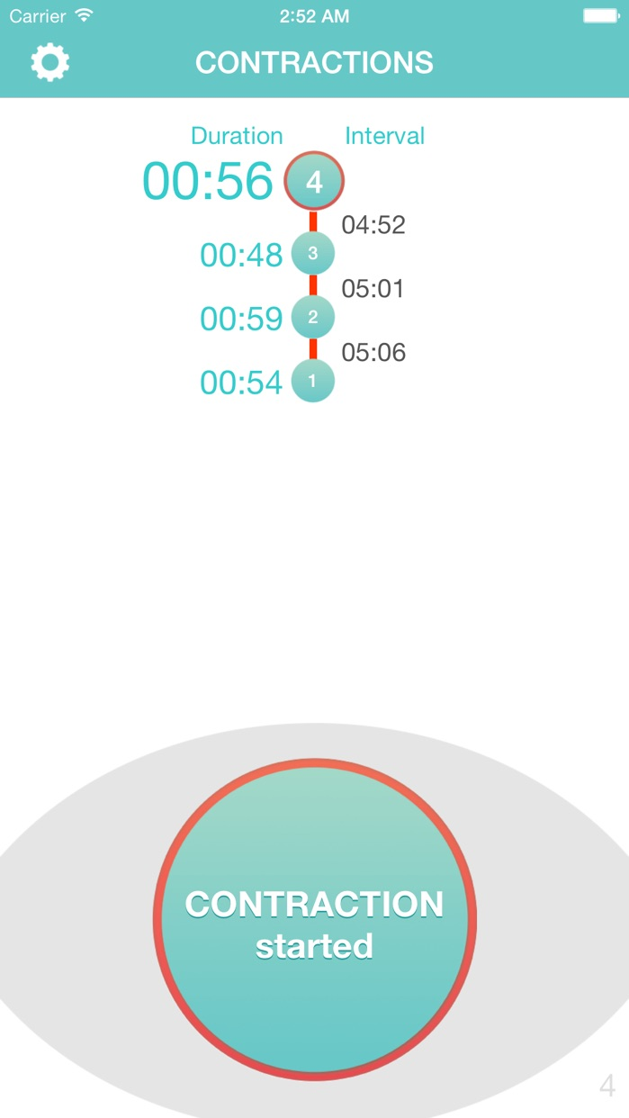 Contraction Timer 9m - Smart Labor Contraction Timer, Counter & Tracker Screenshot