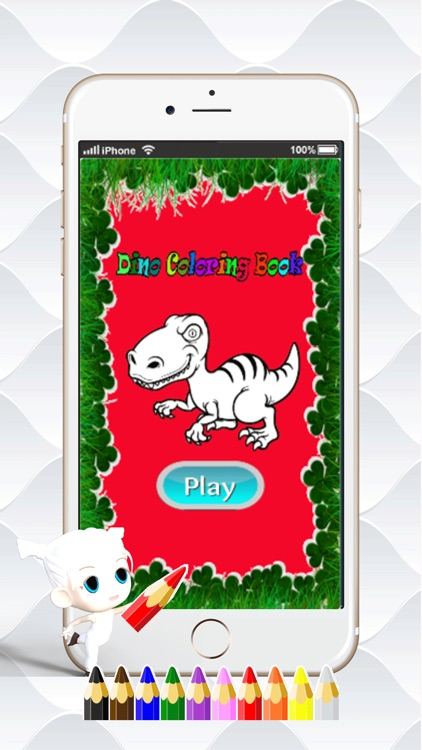 Dino Paint Drawing Color : Cute Caricature Art Idea Pages For Kids