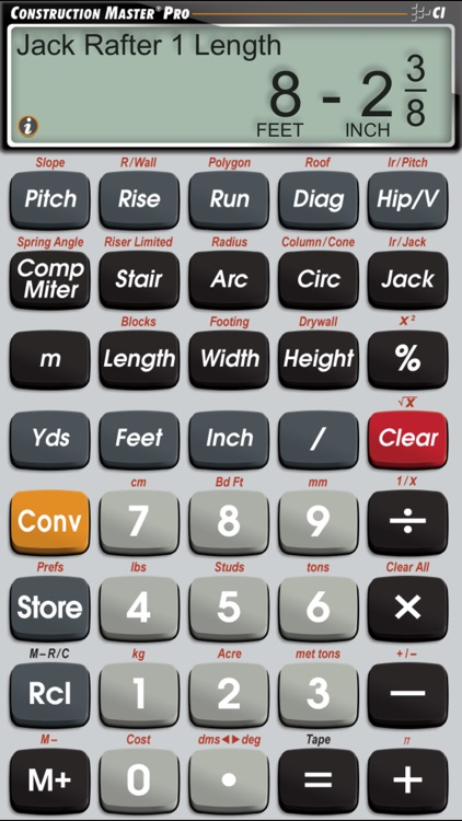 Construction Master Pro -- Advanced Feet Inch Fraction Construction Math Calculator for Building Professionals app image