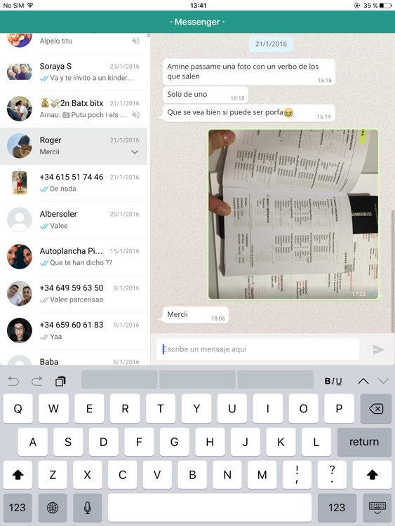 Messenger for WhatsApp - iPad Version - Free Version App