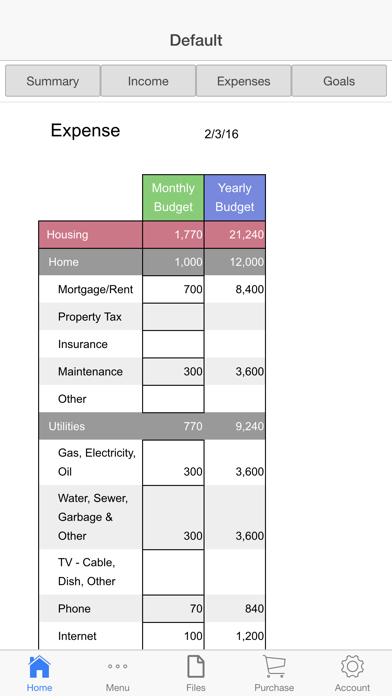 Home Budget Ledger Screenshots