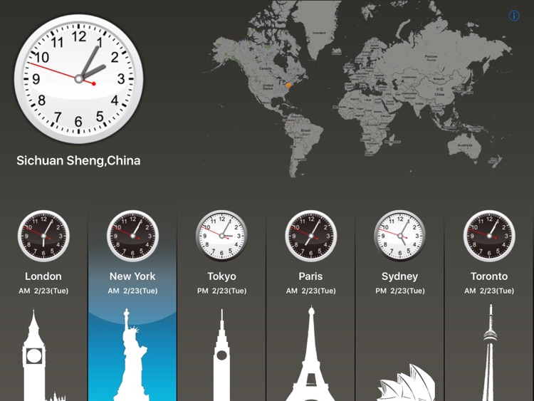Global Clock for world clock, time zone, time lag