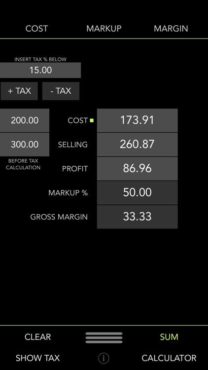 iMargin - Cost, Markup, Margin + Tax Calculator