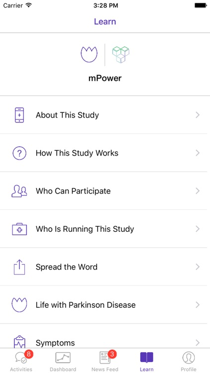 Parkinson mPower study app screenshot-1