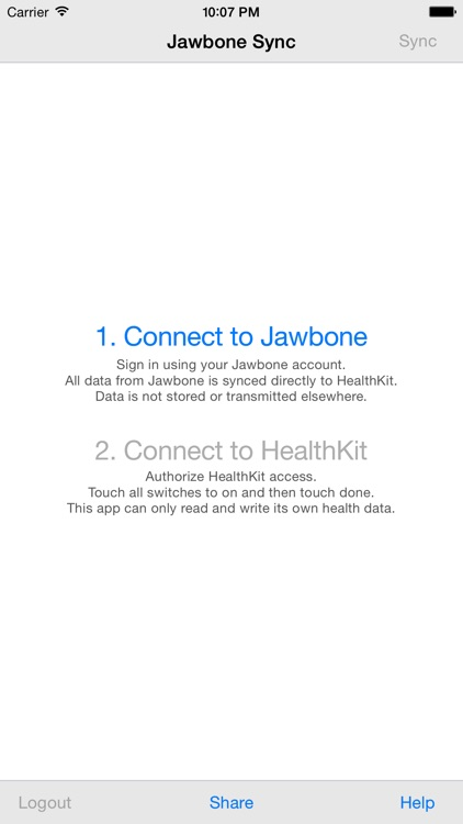 Health Sync for Jawbone UP