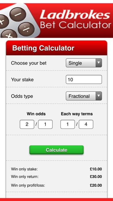 Bet Calculator For Ladbrokes screenshot two
