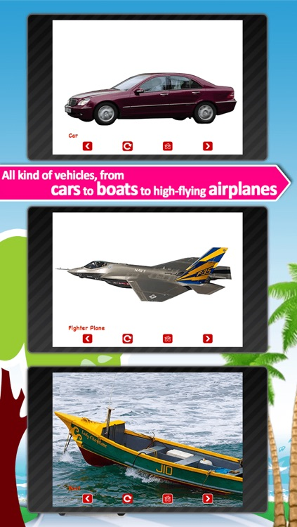 Vehicle sounds for kids: Learn land, air and water vehicles with real pictures and HD sounds screenshot-3