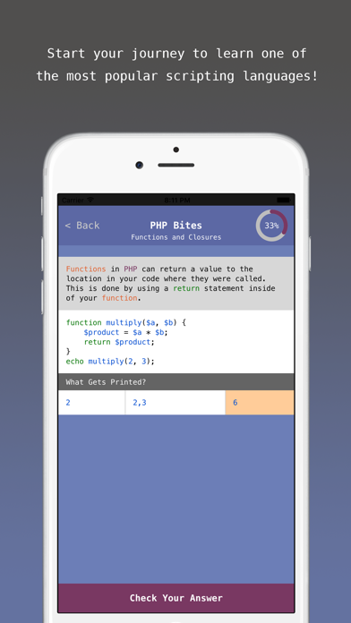 PHP Bites - Learn How to Code in PHP with Interactive Mini Lessons screenshot two