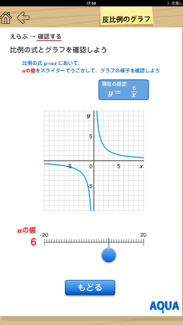 反比例のグラフ さわってうごく数学「AQUAアクア」のおすすめ画像4