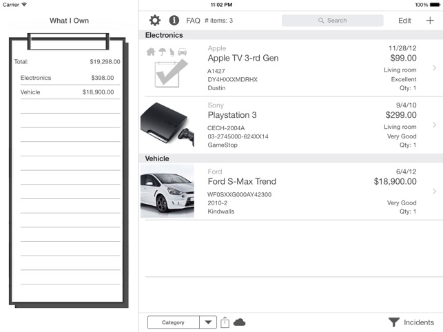 What I Own: Inventory Manager Screenshot