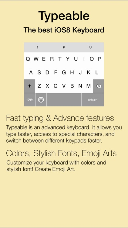 Typeable - Quick Keypads, Stylish Fonts, Emoji Arts, Color Keys, Custom Keyboard for iOS 8