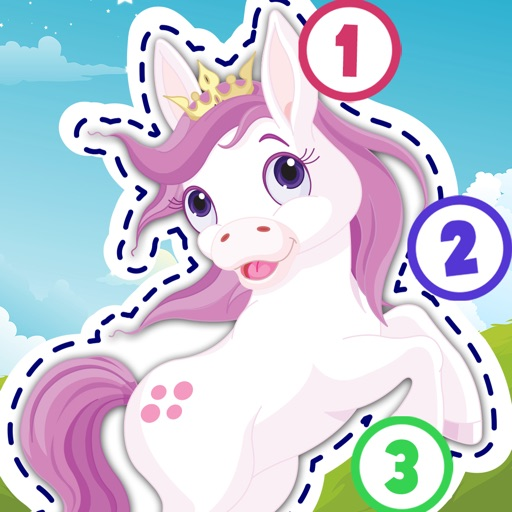 Kids Ponies Puzzle Teach me Tracing & Counting - Learn about pink ponies, cute fairies and princesses