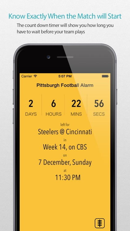 Pittsburgh Football Alarm Pro