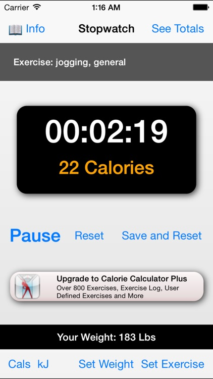 Exercise Calorie Stopwatch - Calculator/Timer for the Calories Burned With Exercise