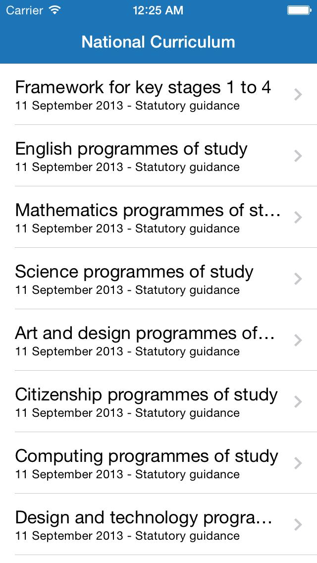 National Curriculum screenshot one