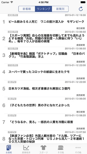 新聞コレクション(全国紙、スポーツ、産業経済、地方紙、社説) Screenshot