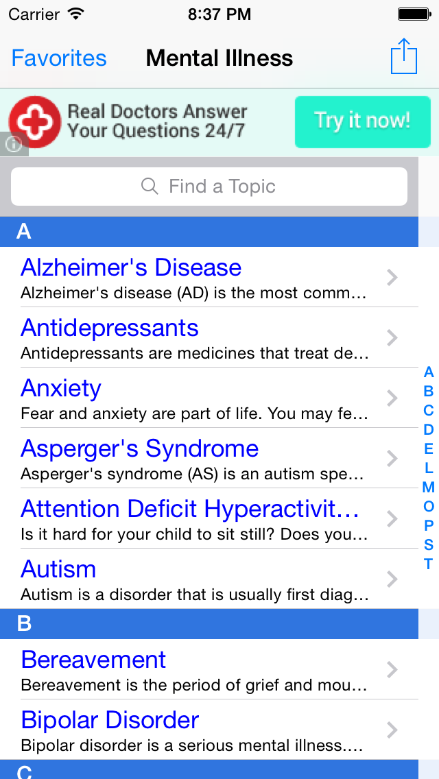 Mental Illness: Facts on Anxiety, Depression, Bipolar Disorder, ADHD, PTSD, OCD Test, Screening, Treatment and Self Help Management Free! screenshot one