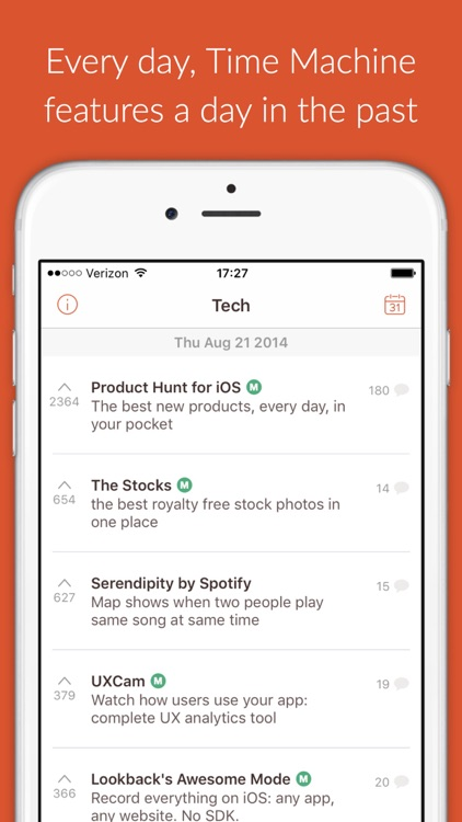 Time Machine - re-discover the best new products from Product Hunt