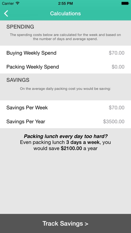 Lunch Saver - Savings Goals