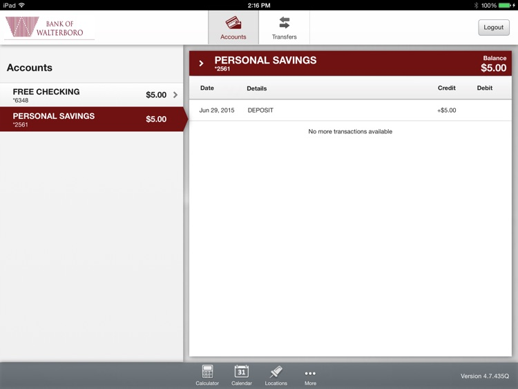 Bank of Walterboro Mobile App for iPad